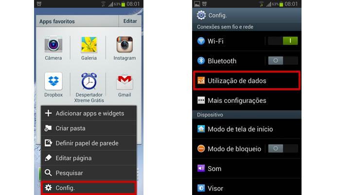 """Vá para o menu de configurações de seu Android e selecione """"Utilização de dados"""" (Foto: Reprodução/Daniel Ribeiro)"""