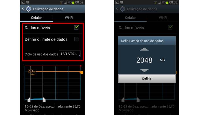 Configure o acesso ao consumo da rede 3G nos comandos em destaque e clique no gráfico para acionar uma notificação do limite do uso (Foto: Reprodução/Daniel Ribeiro)