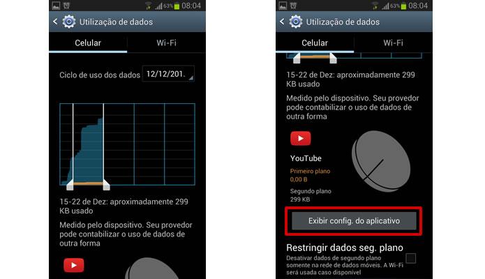 Clicando nos ícones dos apps, é possível acessar detalhes sobre a utilização de dados e um botão para  acessar as configurações de consumo do próprio aplicativo. (Foto: Reprodução/Daniel Ribeiro)