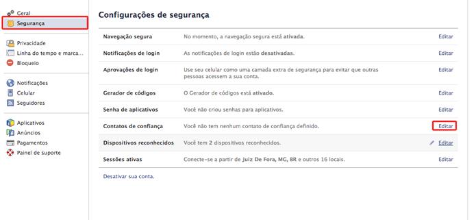 Acessando as configurações de contato de segurança no Facebook (Foto: Reprodução/Marvin Costa)