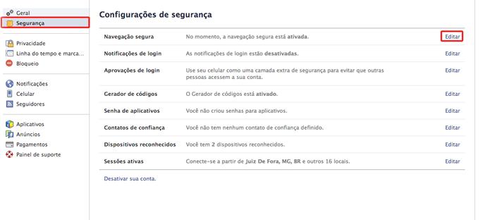 Acessando as configurações de navegação segura do Facebook (Foto: Reprodução/Marvin Costa)
