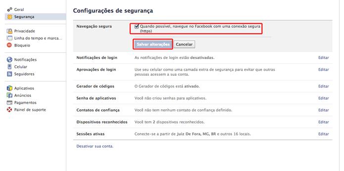 Modificando as configurações de navegação segura do Facebook (Foto: Reprodução/Marvin Costa)