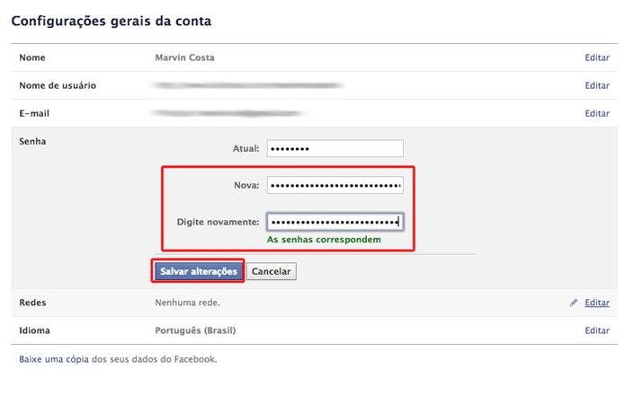 Inserindo uma nova senha no Facebook que foi criada através do Passwords Generator (Foto: Reprodução/Marvin Costa)