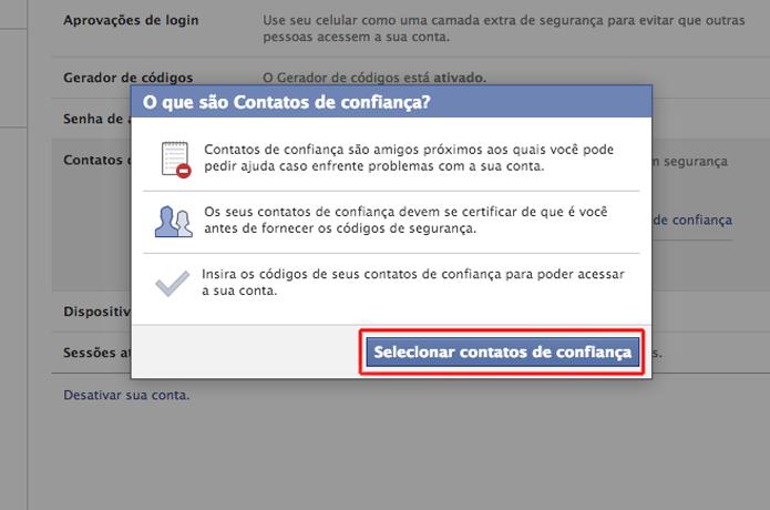 Selecionando os contatos confiaveis de sua conta no Facebook (Foto: Reprodução/Marvin Costa)