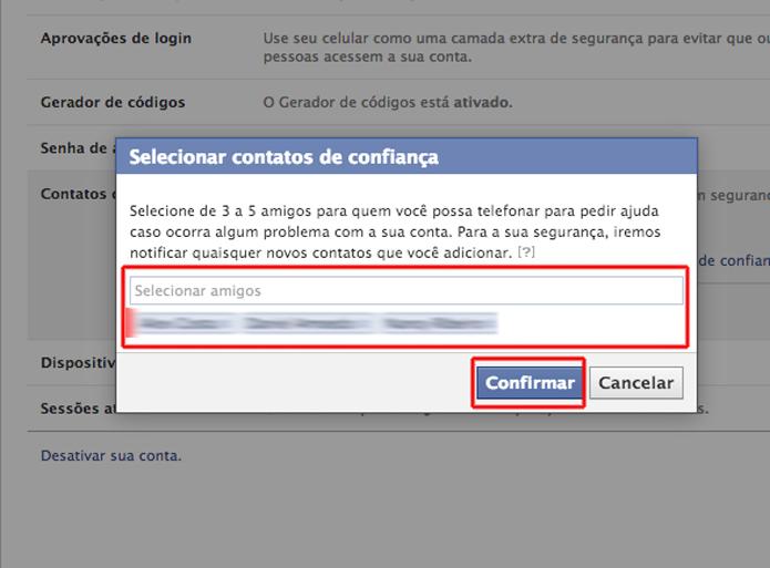 Vinculando três contatos de confiança com sua conta do Facebook (Foto: Reprodução/Marvin Costa)