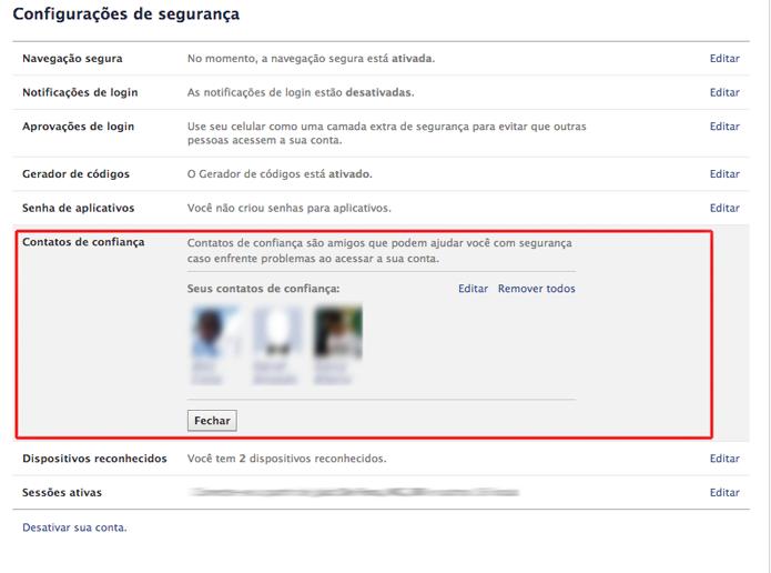 Os contatos confiáveis adicionados ao seu perfil do Facebook (Foto: Reprodução/Marvin Costa)