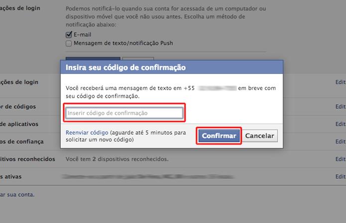 Inserindo o código de verificação enviado para seu celular para terminar o processo de notificações de login do Facebook (Foto: Reprodução/Marvin Costa)