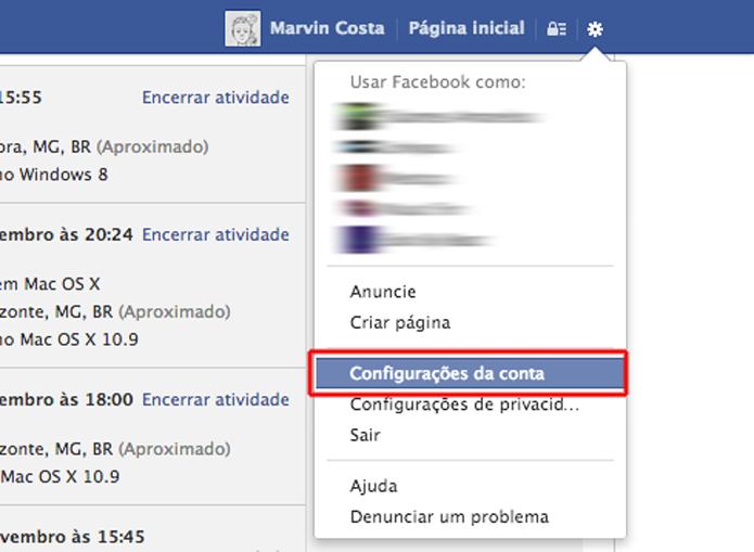 Acessando as configurações de conta do Facebook (Foto: Reprodução/Marvin Costa)