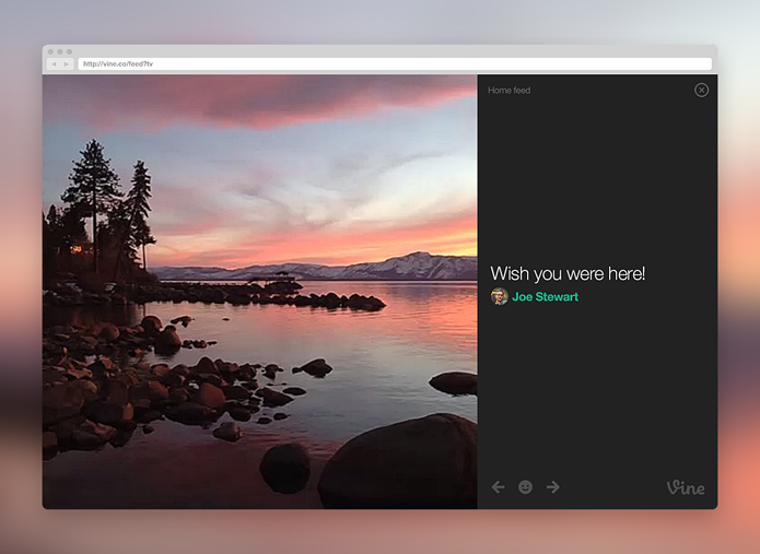 Versão para web do Vine permite ver vídeos em tela cheia (foto: Reprodução/Vine)