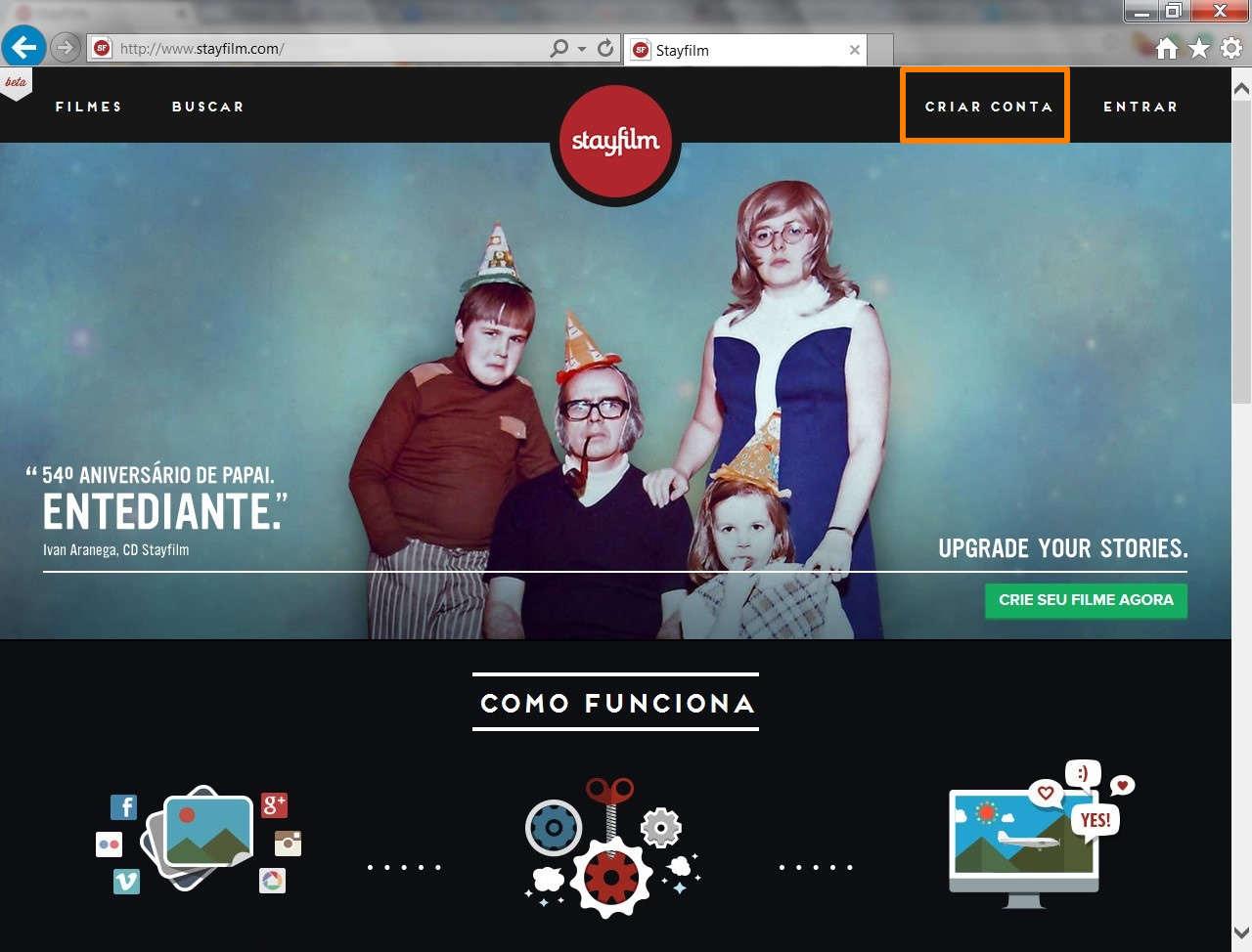 Acesse a página do Stayfilm e clique na opção em destaque para criar sua conta de usuário (Foto: Reprodução/Daniel Ribeiro)