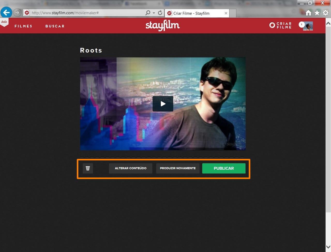 Visualize o videoclipe montado e utilize os botões em destaque para deletá-lo, modificar suas imagens, reorganizar seu conteúdo ou publicá-lo (Foto: Reprodução/Daniel Ribeiro)