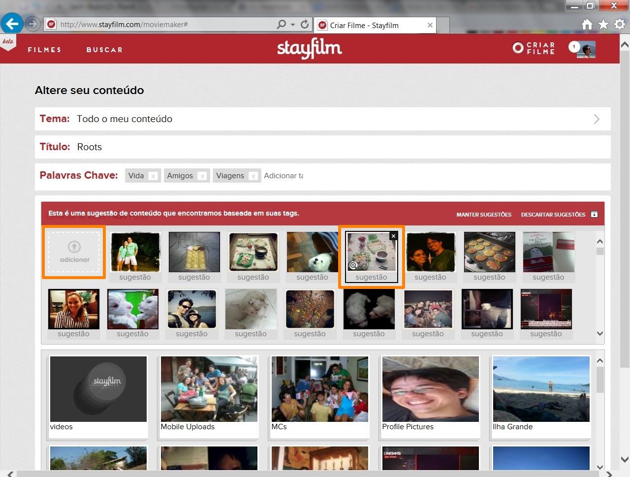 """Clique em """"Alterar conteúdo"""" para fazer uma seleção mais específica das imagens que farão parte de seu vídeo (Foto: Reprodução/Daniel Ribeiro)"""