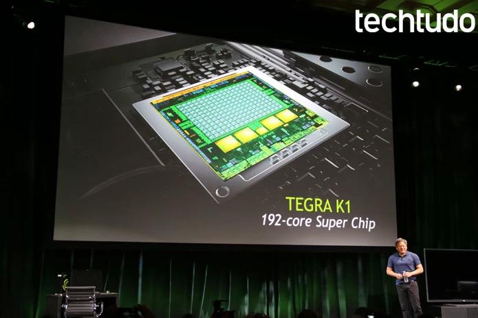 O CEO da Nvidia apresenta o K1, quinta geração do Tegra na CES 2014 (Foto: Fabrício Vitorino/TechTudo)