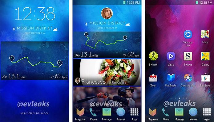 Nova interface do Galaxy S5 lembra design gráfico de aparelho da HTC (Foto: Reprodução/Evleaks)