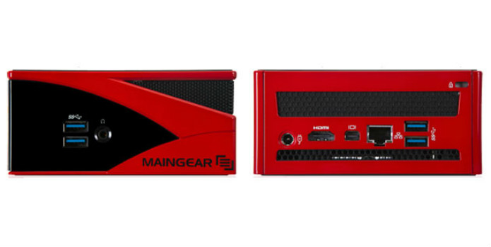 """MAINGEAR - Preço ainda não divulgado. O """"Spark"""" é provavelmente a menor da Steamboxes da lista, com apenas 11,25 cm em cada lado e 5 cm de altura. Ele virá com componentes de laptop: processador AMD A8-5575M , placa de vídeo Radeon R9 M275X, até 16GB de RAM DDR3L e um SSD de 256 GB, além de uma gaveta adicional para outro disco de 2,5 polegada e 4 entradas USB 3.0 (Foto: Divulgação/Maingear)"""