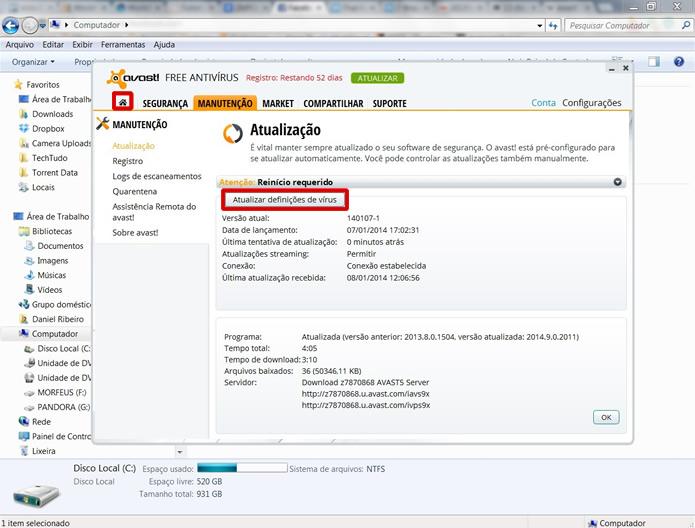 Atualize também as definições de vírus do Avast e retorne ao menu inicial (Foto: Reprodução/Daniel Ribeiro)