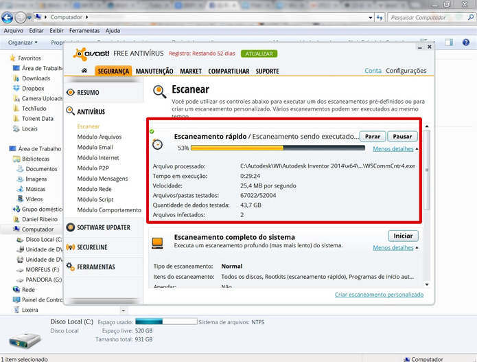Realize o Escaneamento rápido para encontrar arquivos infectados que estejam mais evidentes (Foto: Reprodução/Daniel Ribeiro)