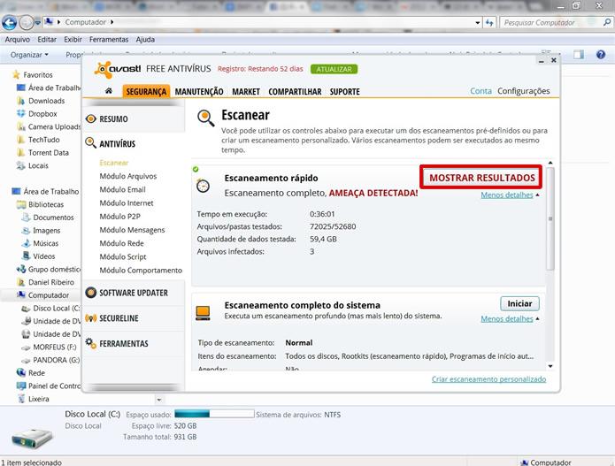 Caso alguma malware seja encontrado, clique no botão em destaque na figura (Foto: Reprodução/Daniel Ribeiro)