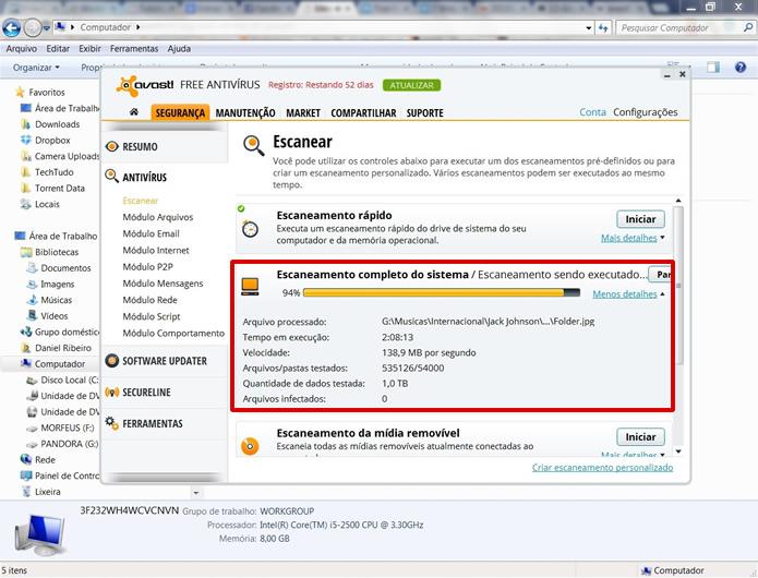 Evite utilizar o computador enquanto a operação de varredura completa é processada (Foto: Reprodução/Daniel Ribeiro)