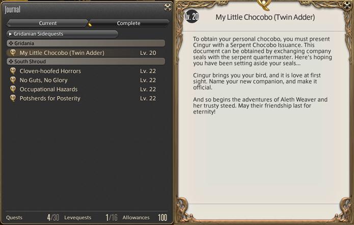 Descritivo da missão My Little Chocobo (Foto: Reprodução/Silas Tailer)