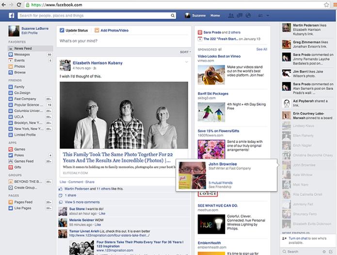Mudanças do Facebook dão mais destaque para notícias de qualidade (foto: Reprodução/Fast Company)