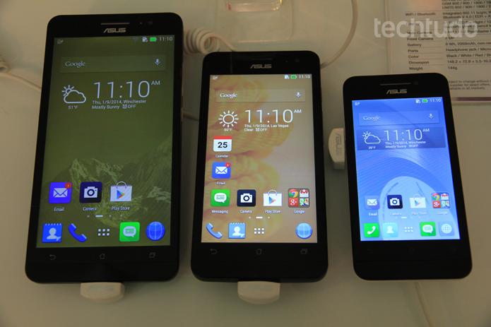 Da esqueda para a direita, Zenfone 6, Zenfone 5 e Zenfone 4