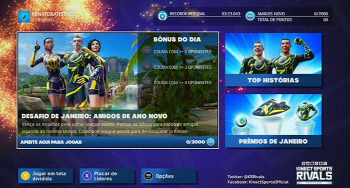 Menus de Kinect Sports Rivals. (Foto: Reprodução)