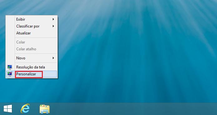 Clicando na opção Personalizar no menu de contexto (Foto: Reprodução/Edivaldo Brito)