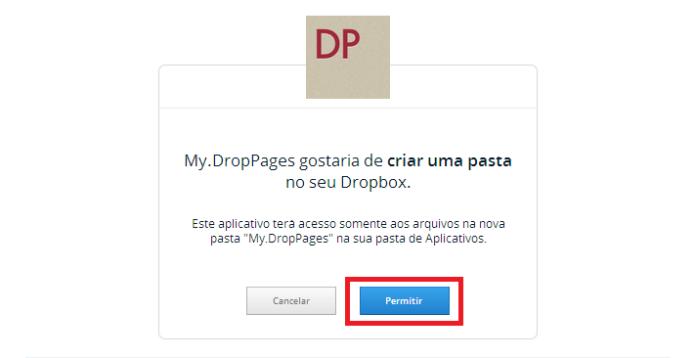 Permissão para criar uma pasta no Dropbox (Foto: Reprodução/Lívia Dâmaso)