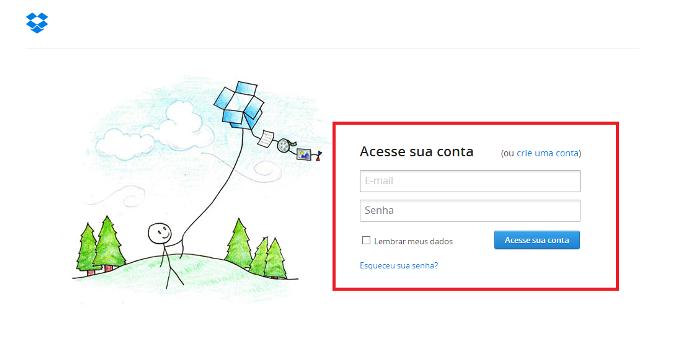 Login do Dropbox (Foto: Reprodução/Lívia Dâmaso)