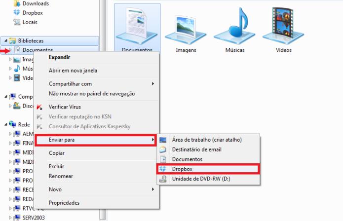 Dropbox como a sua pasta de documentos (Foto: Reprodução/Lívia Dâmaso)