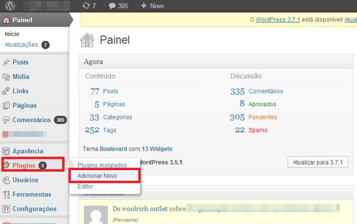 Painel de controle do Wordpress (Foto: Reprodução/Lívia Dâmaso)