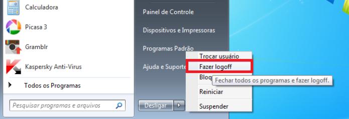 Logoff de usuário no Windows (Foto: Reprodução/Lívia Dâmaso)