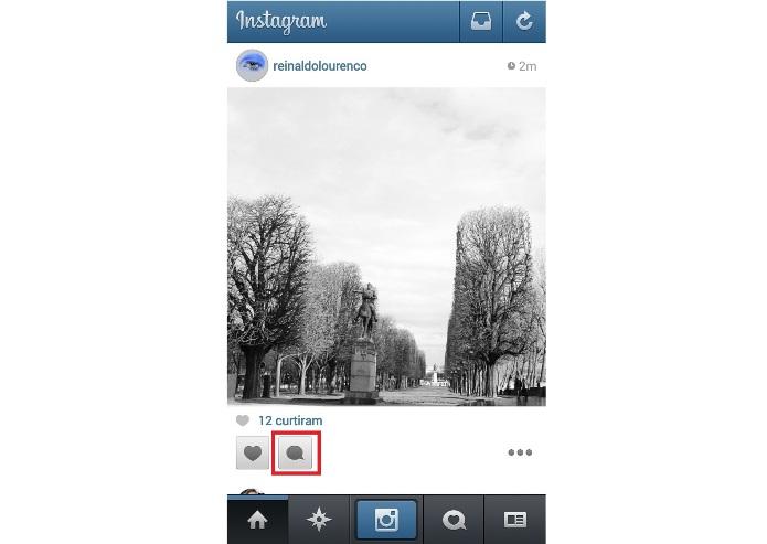 Comentando uma foto no Instagram (Foto:Reprodução/Lívia Dâmaso)