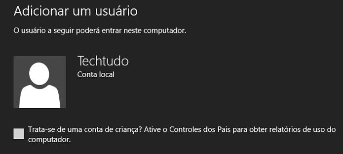 Controle parental na criação de contas do Windows 8 (Foto: Reprodução/Vinícius Sacramento)