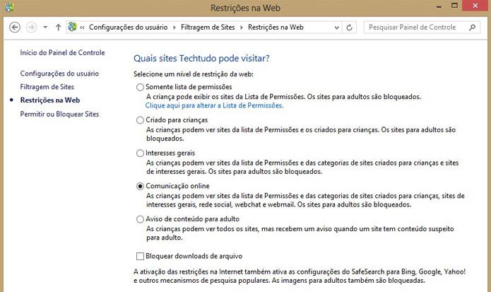 Configure as restrições de acesso na web pelo Windows 8 (Foto: Reprodução/Vinícius Sacramento)