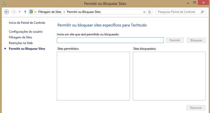 Pais podem fazer listas de sites permitidos e bloqueados (Foto: Reprodução/Vinícius Sacramento)