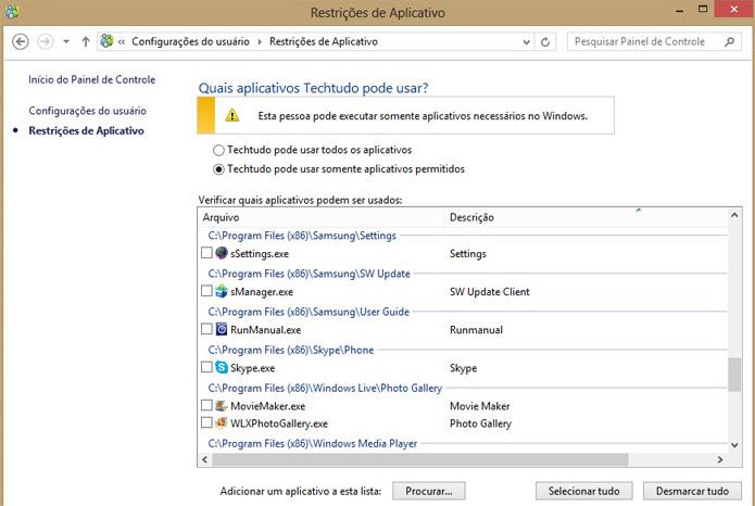 Alguns aplicativos podem ser bloqueados (Foto: Reprodução/Vinícius Sacramento)