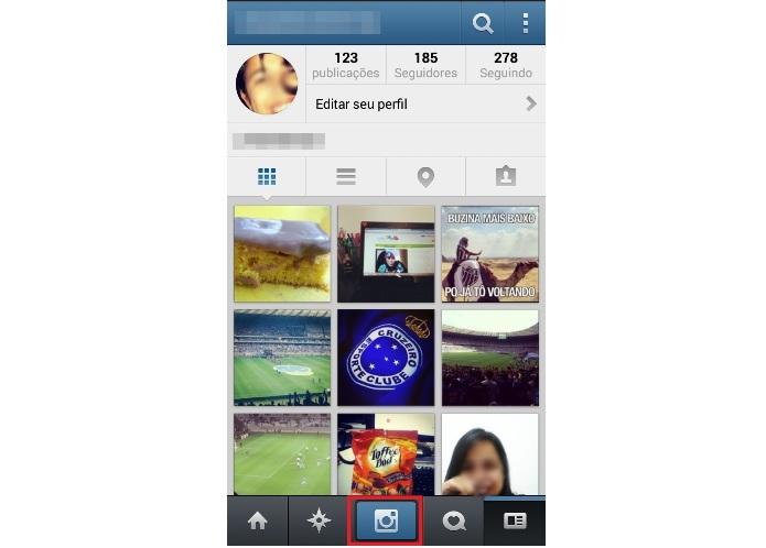 Postando uma foto no Instagram (Foto: Reprodução/Lívia Dâmaso)
