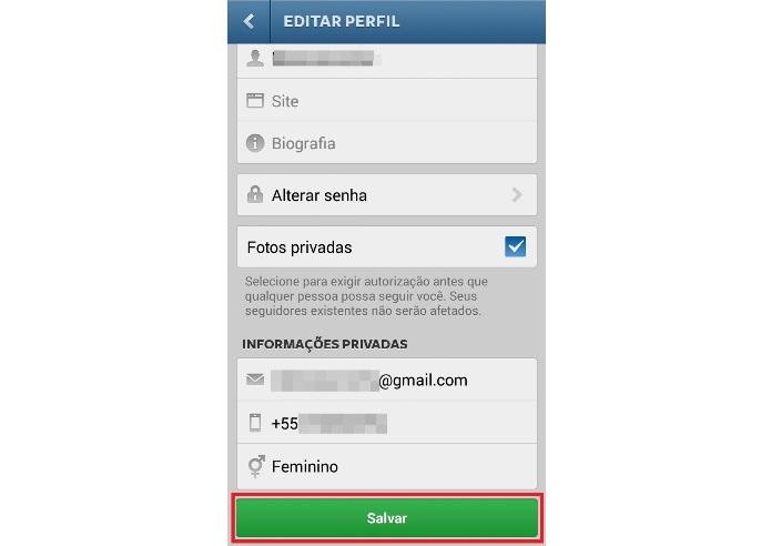 Configurando privacidade das fotos (Foto: Reprodução/Lívia Dâmaso)