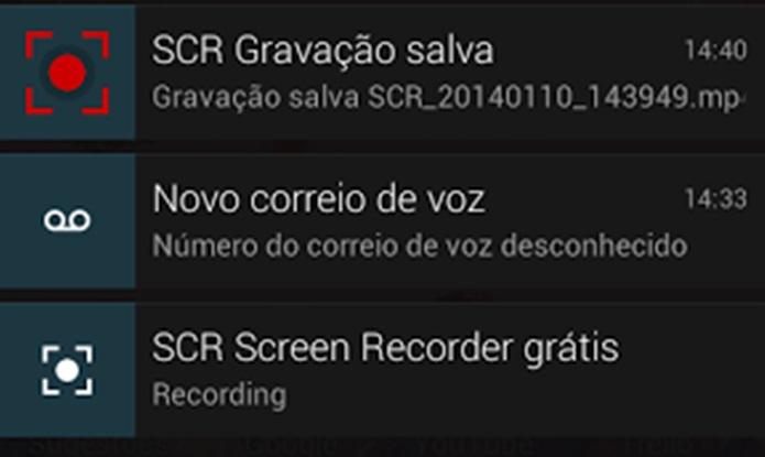 Para finalizar uma gravação é preciso acessar a barra de notificações (Foto: Reprodução / Dario Coutinho)