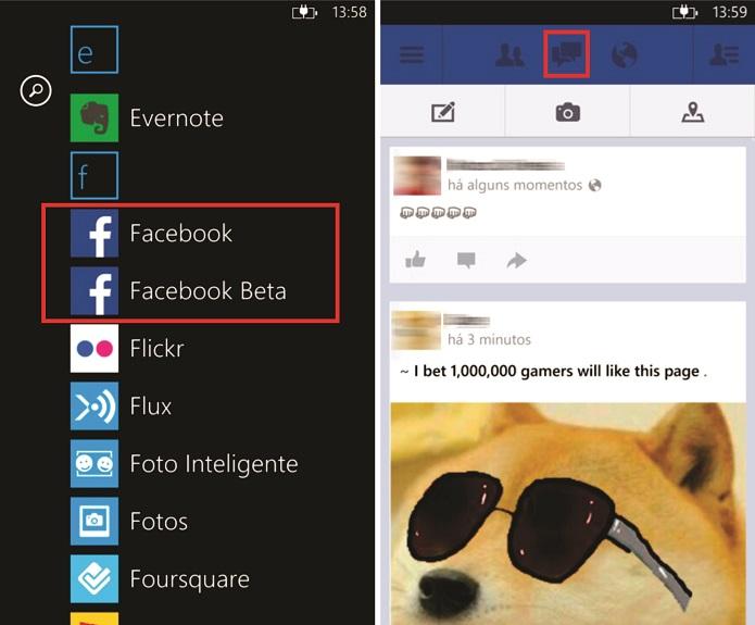 Facebook para Windows Phone oferece a opção de fixar um atalho para o Menseger na tela inicial (Foto: Reprodução/Elson de Souza)