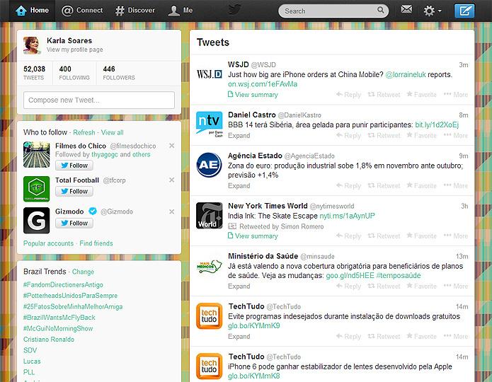 A barra de navegação preta antiga dá lugar a um menu na cor branca com ícones cinza. O perfil do usuário, antes quase escondido, ganha destaque à esquerda   (Foto: Reprodução/Karla Soares)