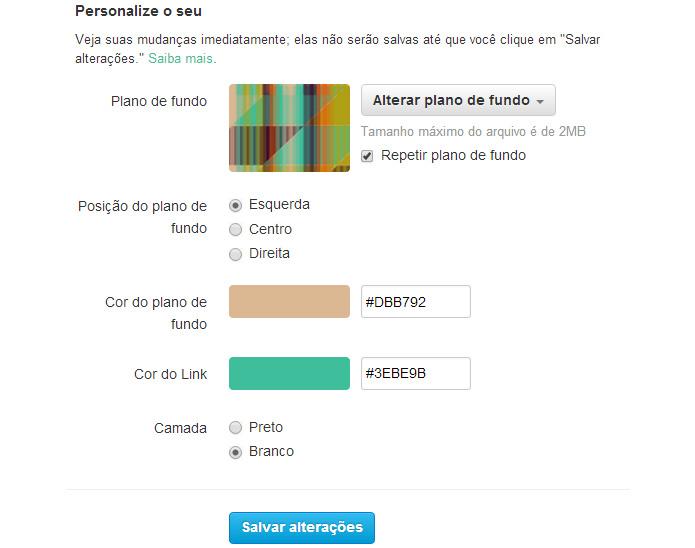 As cores podem ser alteradas no menu de configurações do Twitter. Poderão ser mudados ícones e cores da caixa de composição de posts (Foto: Reprodução/Karla Soares)