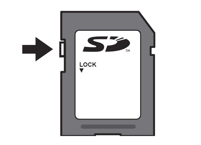 Deslize a chave Lock para habilitar a alteração de arquivos dentro do micro SD