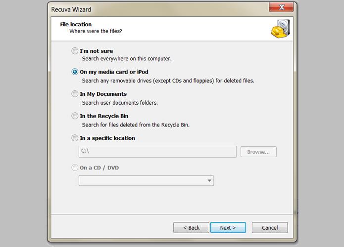 A opção On any media card or iPod busca os arquivos em disco removíveis, como os micro SD