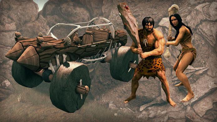 DLC virá com armas e fantasias das cavernas, mais um carro parecido com o dos Flinstones (Foto: Reprodução / CVG)