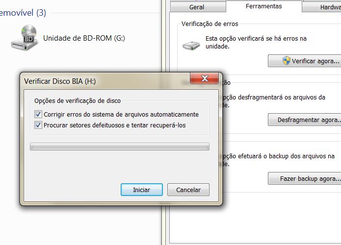 Selecione as duas opções para tentar corrigir os erros de seu micro SD