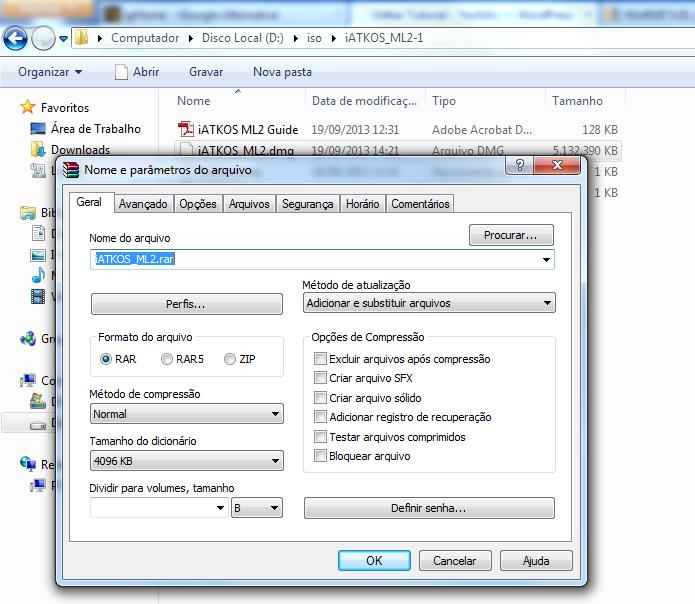 Configurando os parâmetros de configuração do arquivo a ser criado (Foto: Reprodução/Edivaldo Brito)