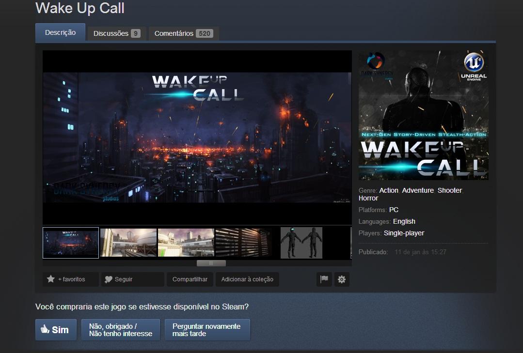 Wake Up Call é um exemplo de jogo em votação na Greenlight (Foto: Reprodução)